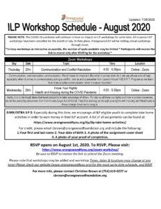 ilp schedule august 2020